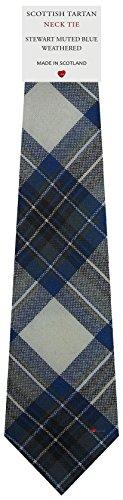 I Luv Ltd Cravate en Laine pour Homme Tissée et Fabriquée en Ecosse à Stewart Muted Blue Weathered Tartan
