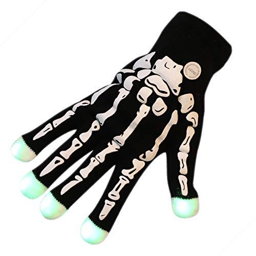 LONTG - Guantes de Halloween con calavera y esqueleto luminosos, accesorios de...