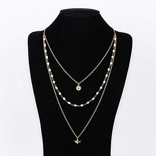GUOJIAYI Natural freshwater pearl daisy flower bee multi-drop three-layer long necklace sweater chain