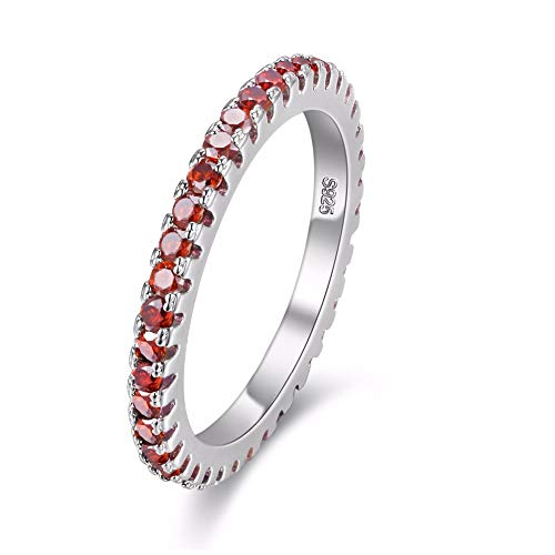 Uloveido 2mm Silver Color Wedding Band Red Cubic Zirconia Eternity Stackable Engagement Ring with Simulated Ruby Birthstone Size 6 7 8 9 (Red, 8) Y115