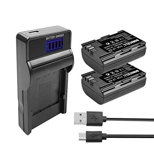 Bonacell Batería para Canon LP-E6 (2600 mAh, incluye cargador USB, compatible con Canon EOS 6D Mark II, EOS 70D, 80D, EOS 60D, 60Da, EOS 5D Mark II, EOS 5D