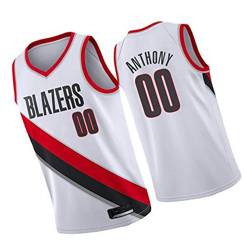 LZZQMR Sudadera de Baloncesto para Adultos Adecuado para Blazers # 00 Anthony City Edition Jersey, Chaleco de Baloncesto Bordado, Competencia Training Ropa Camiseta White-XL