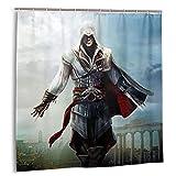 Assassins Creed Ezio - Cortina de Ducha para baño (183cm x 183cm, con 12 Ganchos de plástico)