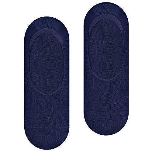 Steven Calcetines de bambú invisibles, calcetines no visibles para mí, súper cómodos, con tacón de silicona antideslizante, blanco, EU44-45