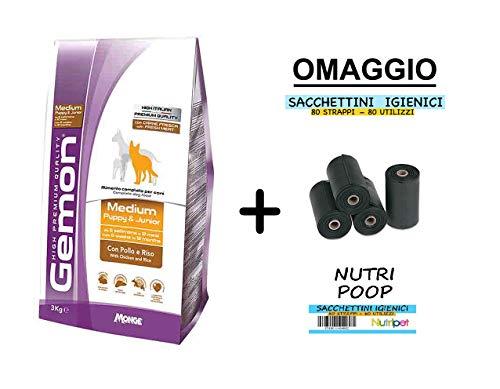 Gemon Medium Puppy 15kg + Omaggio (80 Strappi Nutri Poop)