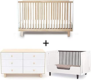 Oeuf Rhea Collection Complete Nursery in Birch with 6 Drawer Dresser