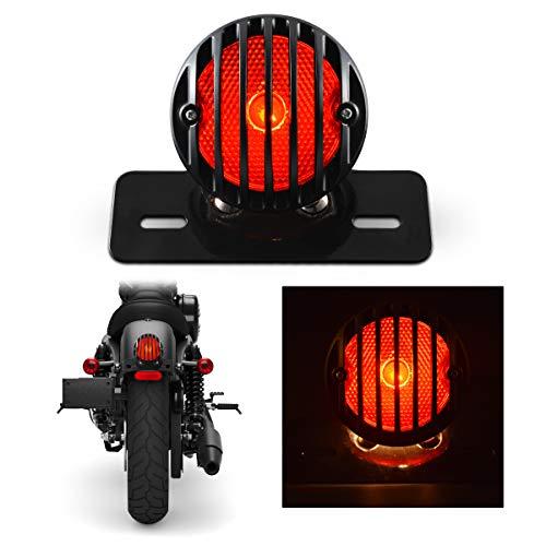 TUINCYN Red Motorrad Rücklicht Mit Kennzeichenhalter Schwarz Heavy Duty Motorrad 12 V Blinker Blinker Lichter Bremsstopp Lauflicht