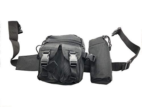 Taktische Militär Bauchtasche Seitentasche Hüfttasche mit 4-Fächern - Farbe: Schwarz - für z.B. Kompaktkamera, Smartphone, Softair Munition – Abmessung: 18x6,5x13 cm