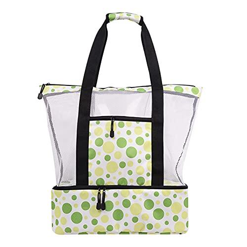 Bolsa de malla para playa con compartimento de aislamiento impermeable, bolsa de picnic de gran capacidad, bolsa de playa y artículos esenciales para la piscina para las mujeres