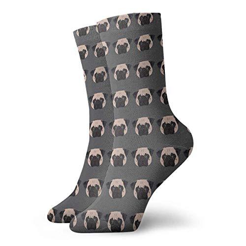 Winston The Pug Calcetines clásicos de ocio y deporte cortos calcetines 30 cm/11.8 pulgadas adecuados para hombres y mujeres