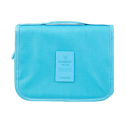 Eleidgs Sacchetto della lavata pieghevole multifunzione sacchetto di lavaggio del sacchetto di cosmetici da toeletta Cosmetic Bag Hanging Klein Nuovo viaggio per le donne signora (blu)