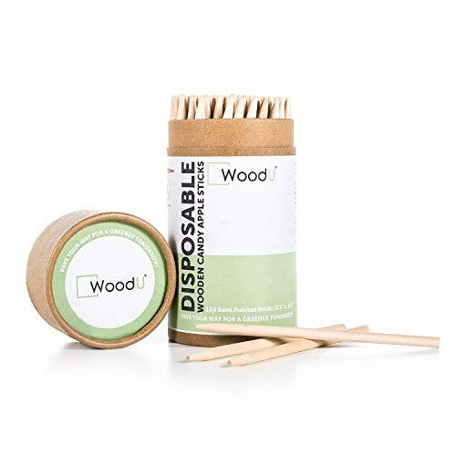Candy Caramel Apple Sticks 100pc Natural Heavy Birch Wood Skewer Child Friendly 55quot x 1/4 Diameter