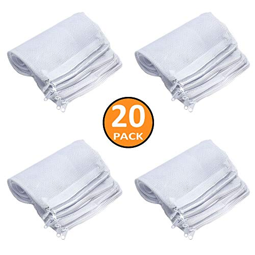 Aquarium Filter Bags Media Mesh Filter Bags with Zipper Reusable Nylon Zipper Bags for Fish Tank Activated Carbon,Charcoal,Bio Balls Filter Accessories, White (20 Pieces Upgraded Version Thickened)