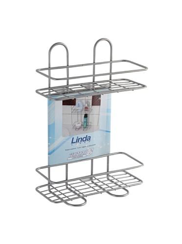 FERIDRAS Linda Étagère, 2 étagères, rectangulaire, Chrome, 11 x 26 x 35 cm