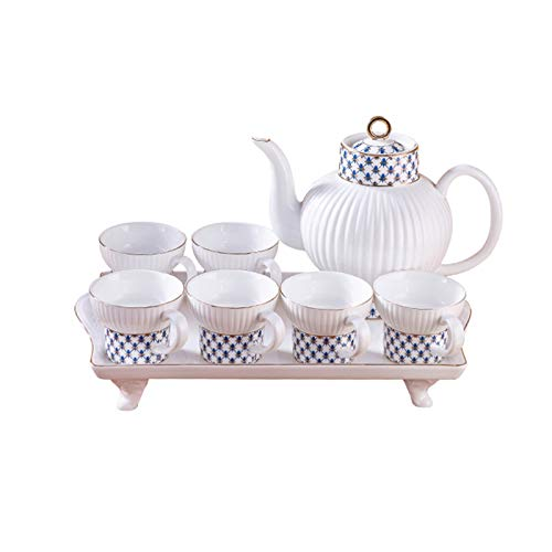 Infuser Porcelain Teapot Juego de té de cerámica de 8 piezas adecuado para la flor de café y el té de fruta contiene 6 tazas de té 1 Tetera 1 bandeja moderna estilo de lujo tarde taza de té Tea Set Gi