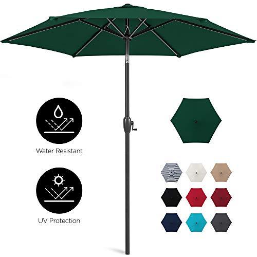 Best Choice Products 7.5ft Heavy-Duty Outdoor Market Patio Umbrella w/Push Button Tilt, Easy Crank Lift, Green
