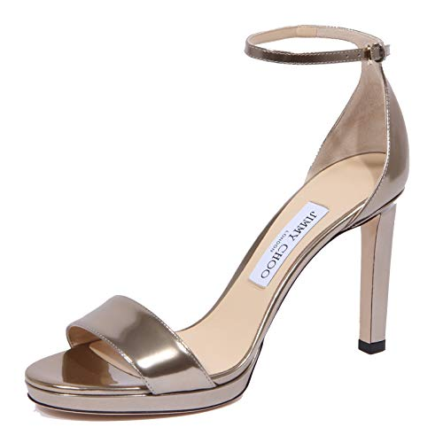 JIMMY CHOO 1938J Sandalo Donna Light Gold Misty Mirror Leather Shoe Woman [38]