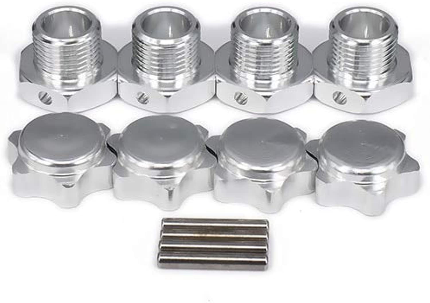Generic M17 17mm Aluminum Wheel Hex Hubs Adapter Nut Pin AntiDust Cover for 1 8 RC Car HPI HSP Traxxas Losi Axial Kyosho Tamiya Redcat Silver
