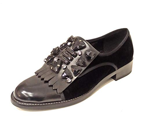 Luciano Barachini 7183A - Zapatos de mujer de piel y terciopelo negro...