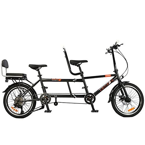 LZXSXZ Tandem Fahrrad 700C, Klappräder, Citybike, 28 Zoll Trekkingrad, Verwenden Sie Hochfesten Kohlenstoffstahl, 8-Gang, Zusammenklappbar, Bis Zu DREI Personen, Maximale Belastung 200 Kg