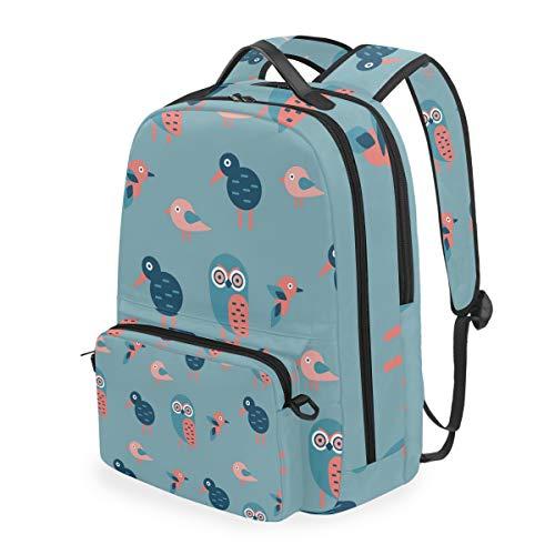 Lovely Owl & Kiwibird-01 - Zaino da scuola per ragazze di alta qualità casual zaino 2 in 1 leggero tela per computer portatile per bambini 40,6 cm (altezza) x 5,1 cm (larghezza) x 30,5 cm (lunghezza).
