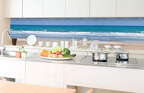 DIMEX LINE Küchenrückwand Folie selbstklebend LEERER Strand | Klebefolie - Dekofolie - Spritzschutz für Küche | Premium QUALITÄT - Made in EU | 350 cm x 60 cm