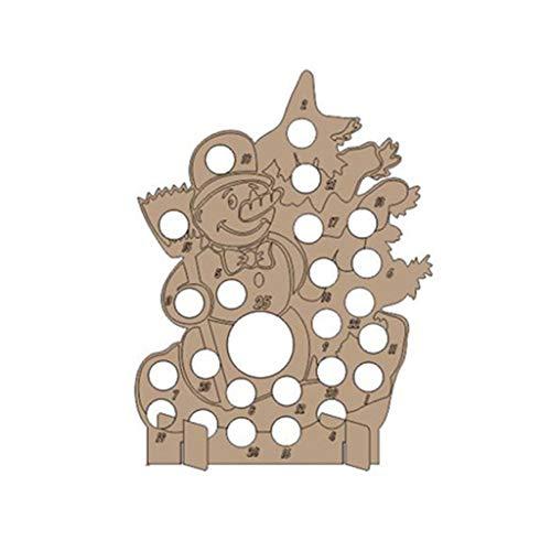 Lazder - Calendario de adviento de madera hecho a mano para árbol de Navidad con cuenta atrás, madera, 04., medium