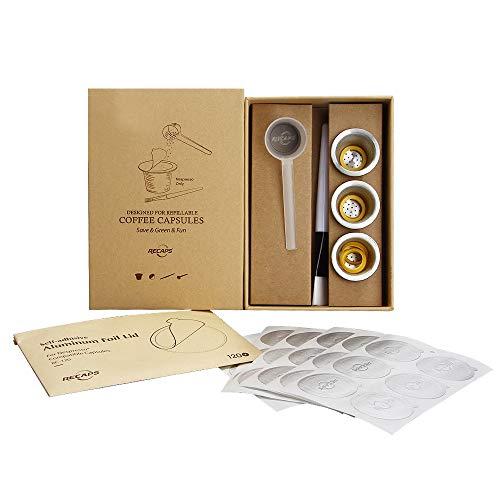 RECAPS Nachfüllbare Edelstahlkapseln Wiederverwendbare Hülsen Kompatibel mit Nespresso Original Line-Maschinen, aber NICHT mit allen (3 Hülsen + 120 Deckel)