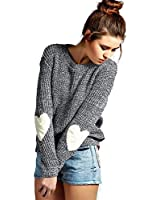 shermie Crew Neck Womens Sweaters Cute Heart Pattern Patchwork Long Sleeve Knit Sweater Pullover Thin Grey S