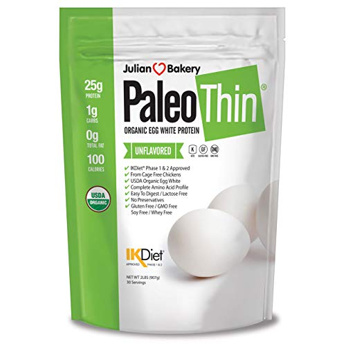Paleo Thin® Organic Egg White Protein Powder (2 LBS Total)(Soy Free)(30 Servings Total) (GMO Free)