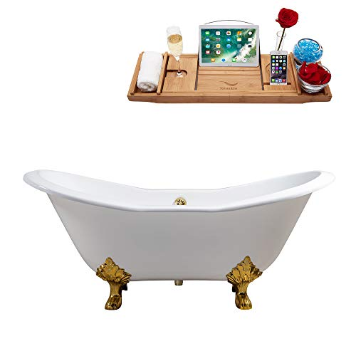 Streamline | Clawfoot Soaking 72' R5162GLD-GLD Cast Iron Bathtub, White | Comes with External Drain...
