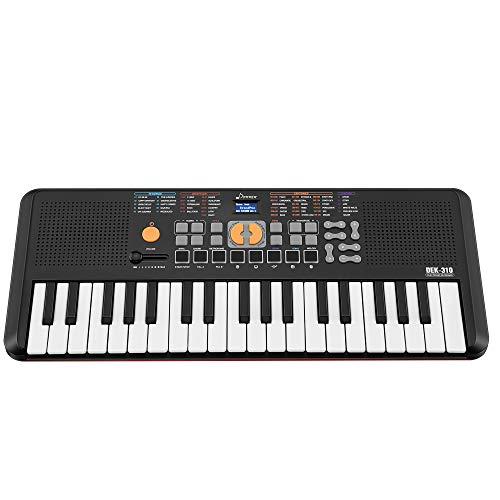 Donner DEK-310 37 Keys Mini-key Piano Portable Keyboard With Touch-Sensitive, 5 Mini Drum Pads Black