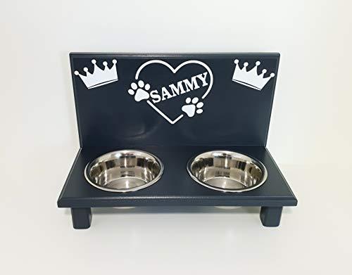 Jennys Tiershop Futterbar. Wunschnamen im Herz. Napfbar für kleine Hunde. Futterbar Hunde in anthrazit. 2 x 750 ml. (46kl)