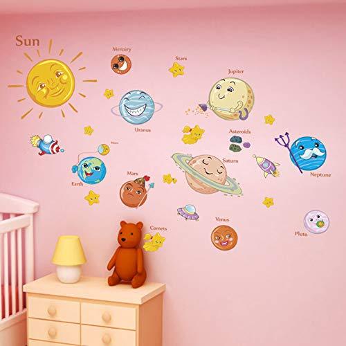 Planet Star - Adhesivo decorativo para pared para sala de estar, habitación de los niños, dormitorio, decoración de universo