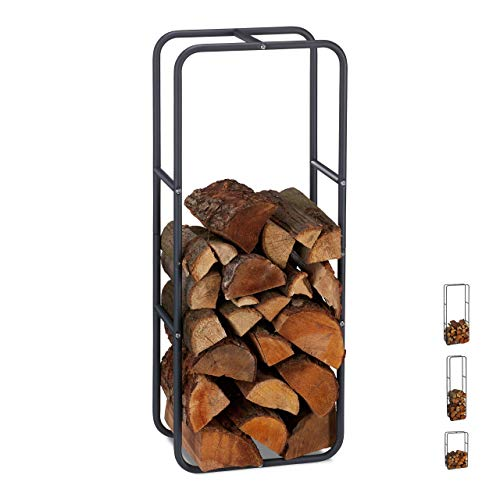 Relaxdays Kaminholzregal, Holzscheite Stapelhilfe, aus Stahl, innen und außen, Brennholzregal, HxB 100x40 cm, anthrazit