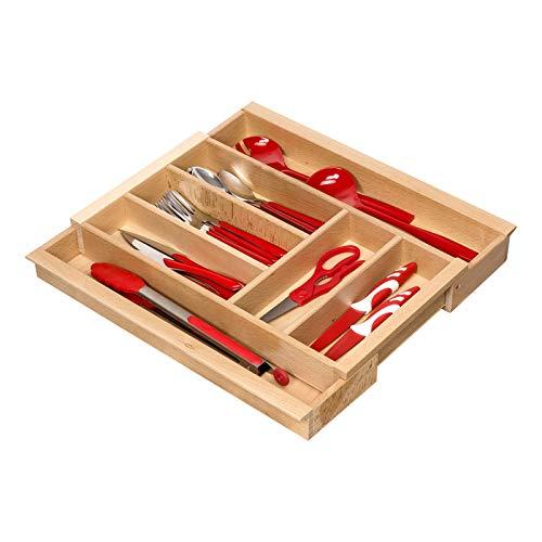 Orga-Box BUCHE Besteckeinsatz ausziehbar für Schubladenbreite von 40-60 cm z.B. in Nobilia Küchen ab 2013 Holz-Besteckkasten mit mit 5-7 Fächer III