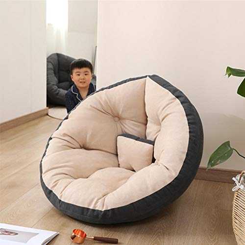 Cómodo sofá Perezoso Individual puf sillón reclinable pequeño apartamento Dormitorio Linda Chica Tatami Sala de Estar sofá-M-Terciopelo-Gris