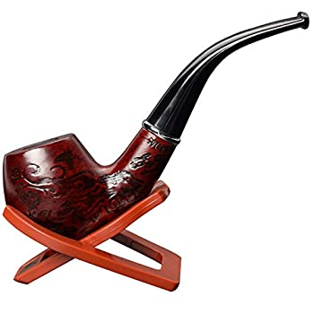ONE250 Classic Tobacco Smoking Wood Pattern Pipe with Stand
