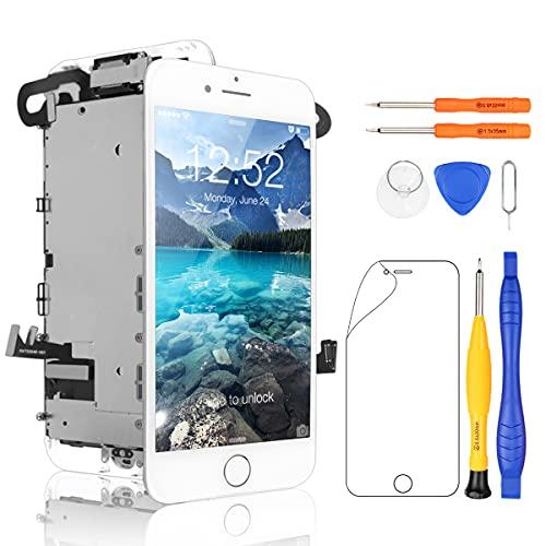 Yodoit iPhone7 フロントパネル 液晶パネル (Homeボタンが含まれる) 画面 修理交換用 取り付け簡単化 LCD パネル タッチ 修理パーツ デジタイザ 工具+画面保護フィルム付属 (白 4.7インチ)