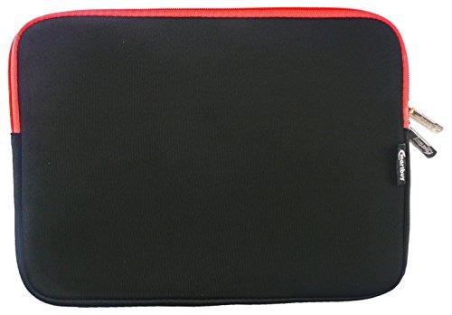Emartbuy® Schwarz / Rot Wasserdicht Neopren weicher Reißverschluss Kasten Abdeckung Sleeve mit Rot Interieur&zip Geeignet Für Asus EeeBook E402SA 14 Zoll NoteBook ( 13-14 Zoll Notebook )