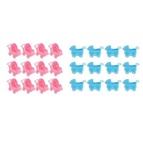 freneci Carro de Bebé Plástico de 24 Piezas Decoración de La Fiesta de Bienvenida Al Bebé Favor de Fiesta Rosa + Azul