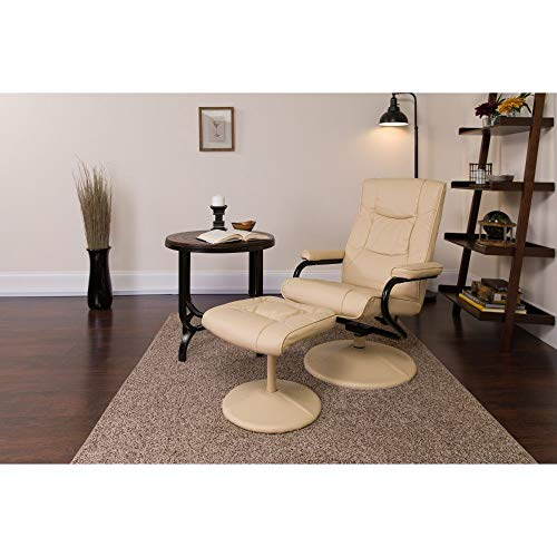 Flash Furniture Contemporary Multi-Position Recliner and Ottoman with Wrapped Base in Cream LeatherSoft