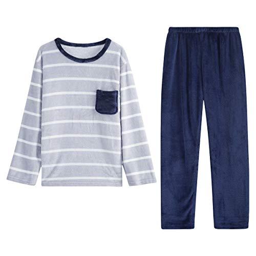 GOSO - Pijamas para niños, Forro Polar, Grueso y cálido Invierno para Adolescentes, Pijamas de Manga Larga para niño Grande, Ropa de Dormir de Terciopelo 9 10 11 12 13 14 15 años