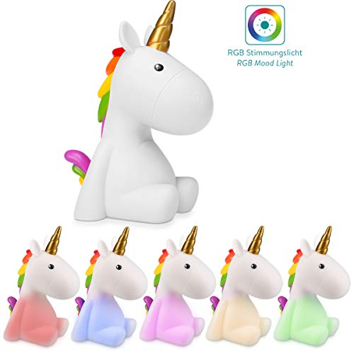 Navaris luz de noche para niños - Lámpara LED de unicornio y cable micro USB - Iluminación RGB brillo ajustable y temporizador de color blanco