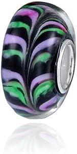Materia{925} plata objetos de cristal de Murano Bead 'Buntfarn' negro violeta para European Beads Pulsera #597