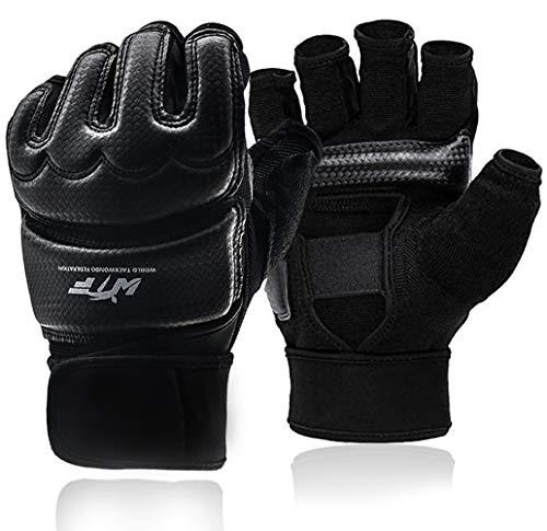 Kickboxing Gloves Punch Bag Muay Thai Boxing Training Fingerless Gloves for Men Women Children (Black, M)
