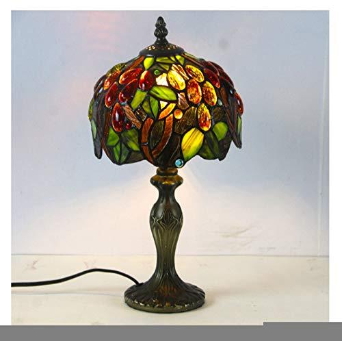 GXM-LZ Tiffany-Stil Tischlampen, handgemachte Traubenfarbe Buntglaslampenschirm für die Schlafzimmer Nachttischlampe,...