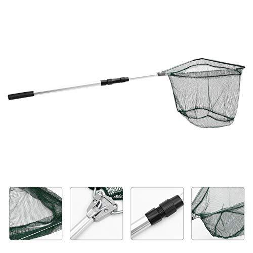 BESPORTBLE Folding Fishing Net Fish Landing Net Aluminum Telescopic Pole Handle Durable Mesh Safe Fish Catching and Releasing Green