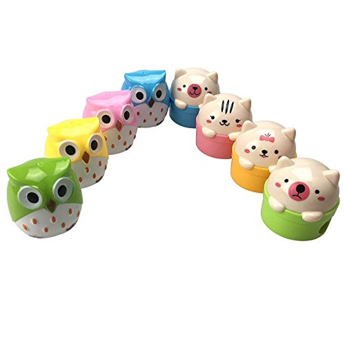 8pcs Lovely Cute Cartoon Animal Pussy Cat Owl Pencil Sharpeners with Double Sharpener Holds for Kids CSPRING
