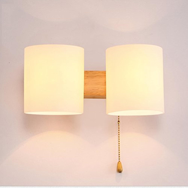 Kreative Massivholz Moderne Minimalistische Wohnzimmer LED Holz Wandleuchte Glas Wandleuchte Dachboden Wohnzimmer Schlafzimmer Wandleuchte Holz Lampe (ausgabe   Double head)